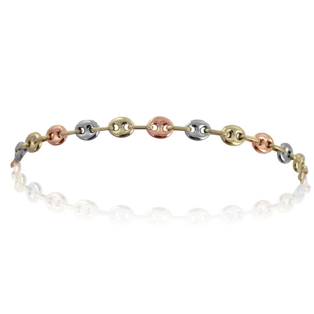 Bracelet maille grain de café Or 375/00