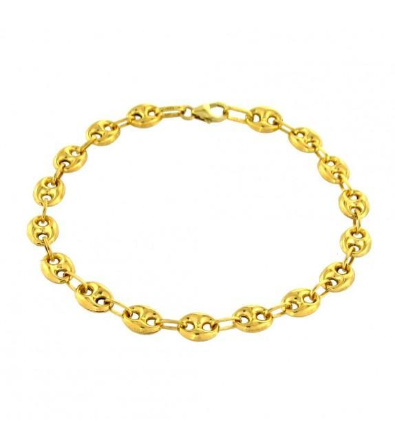 Bracelet maille grain de café 19 cm Or jaune 375/00