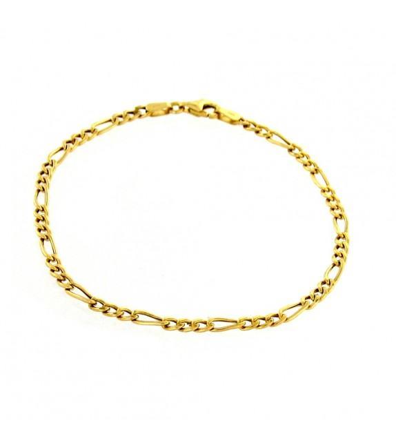 Bracelet maille alternée 1+3 - 19 cm Or 375/00