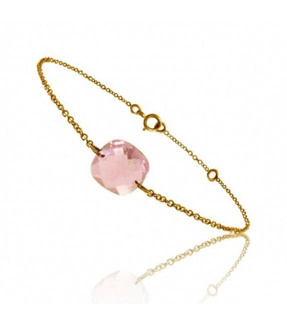 Bracelet chaine Or jaune 750/00 et quartz rose taille coussin