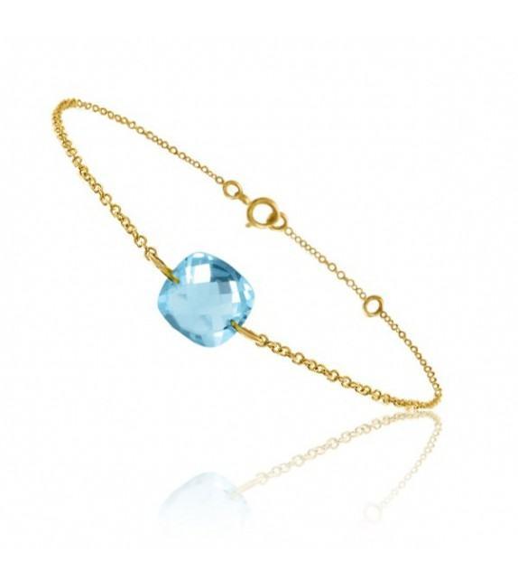 Bracelet chaine Or jaune 750/00 et topaze bleue taille coussin
