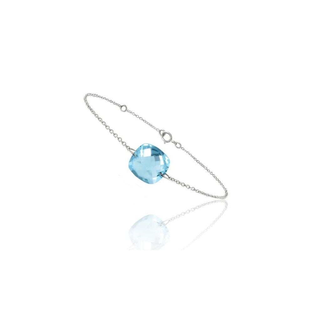 Bracelet chaine Or blanc 750/00 et topaze bleue taille coussin