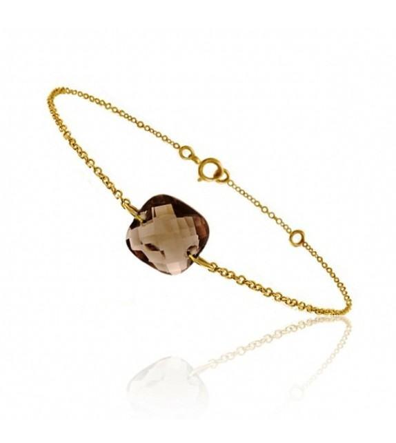 Bracelet chaine Or jaune 750/00 et quartz fumé taille coussin