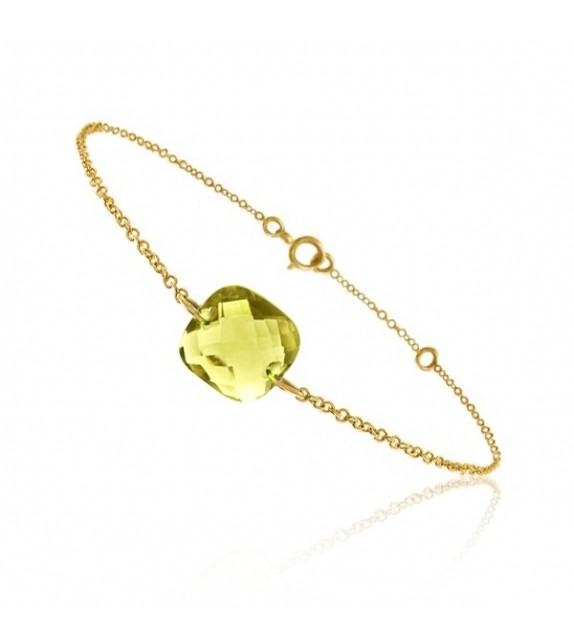 Bracelet chaine Or jaune 750/00 et quartz jaune taille coussin