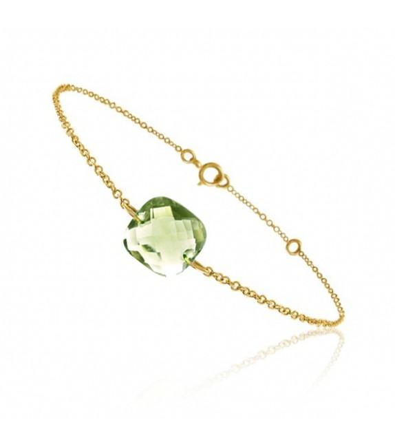 Bracelet chaine Or jaune 750/00 et quartz vert taille coussin