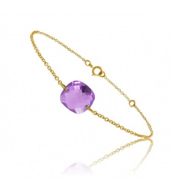 Bracelet chaine Or jaune 750/00 et améthyste taille coussin