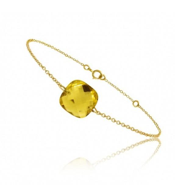 Bracelet chaine Or jaune 750/00 et citrine taille coussin
