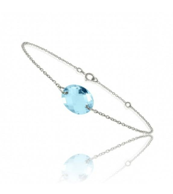 Bracelet chaine Or blanc 750/00 et topaze bleue taille ovale