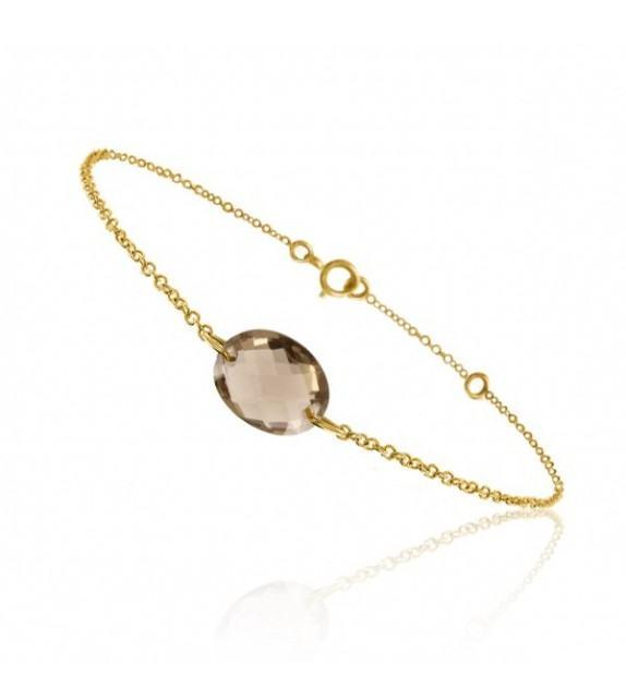 Bracelet chaine Or jaune 750/00 et quartz fumé taille ovale