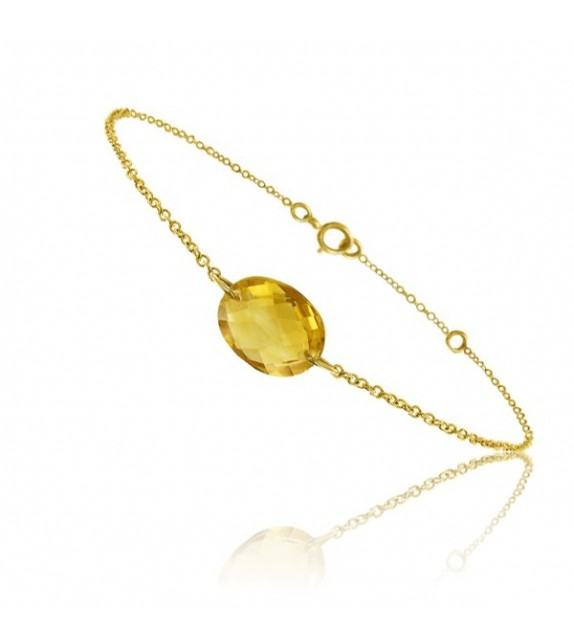 Bracelet chaine Or jaune 750/00 et citrine taille ovale