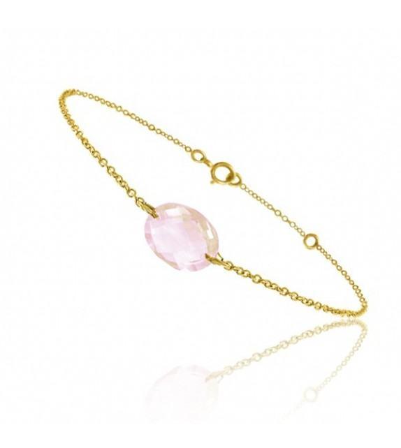 Bracelet chaine Or jaune 750/00 et quartz rose taille ovale