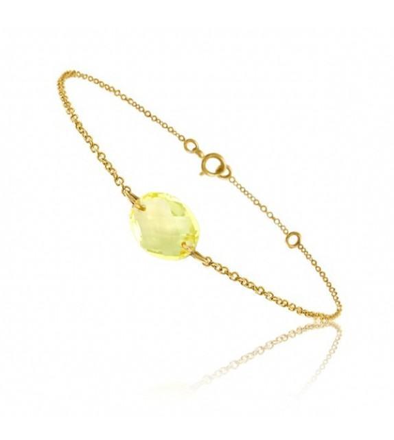 Bracelet chaine Or jaune 750/00 et quartz jaune taille ovale