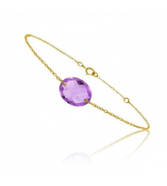 Bracelet chaine Or jaune 750/00 et améthyste taille ovale
