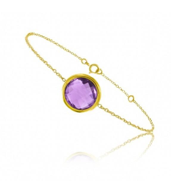 Bracelet chaine Or jaune 750/00 et améthyste taille ronde