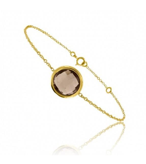 Bracelet chaine Or jaune 750/00 et quartz fumé taille ronde