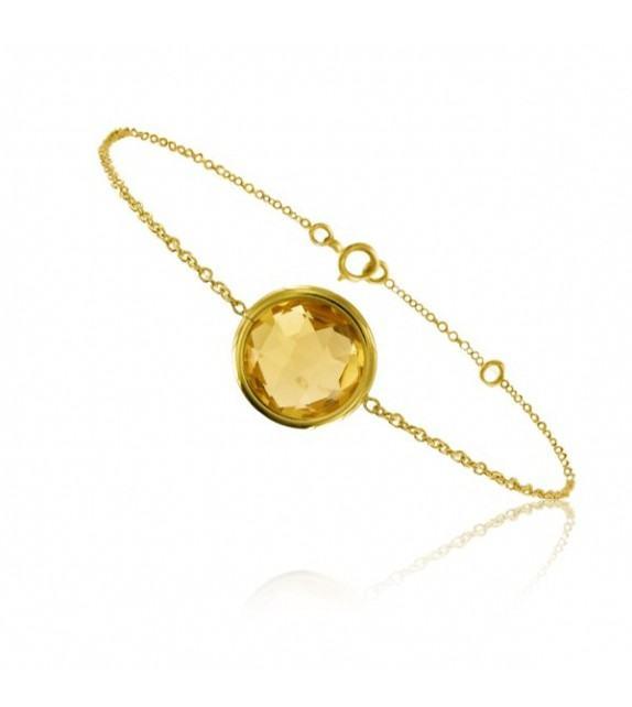 Bracelet chaine Or jaune 750/00 et citrine taille ronde