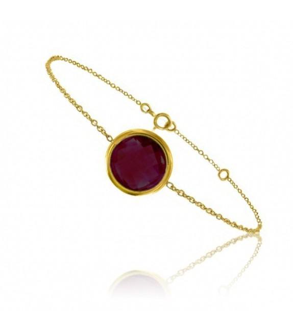 Bracelet chaine Or jaune 750/00 et grenat taille ronde