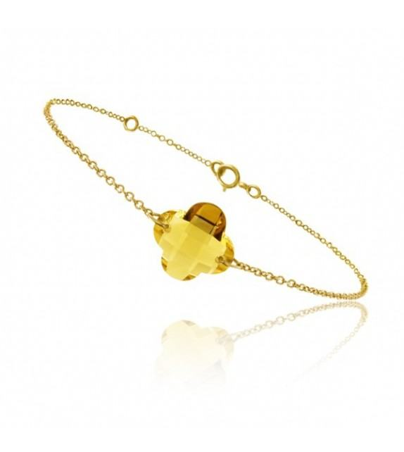 Bracelet chaine Or jaune 750/00 et citrine taille fleur