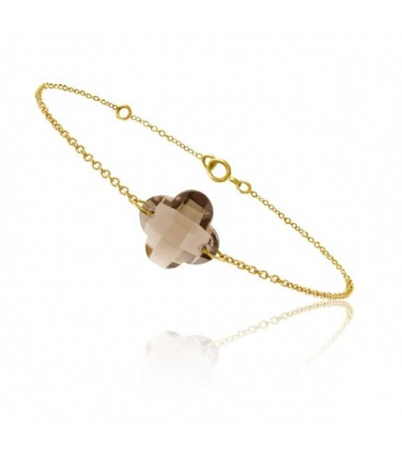 Bracelet chaine Or jaune 750/00 et quartz fumé taille fleur
