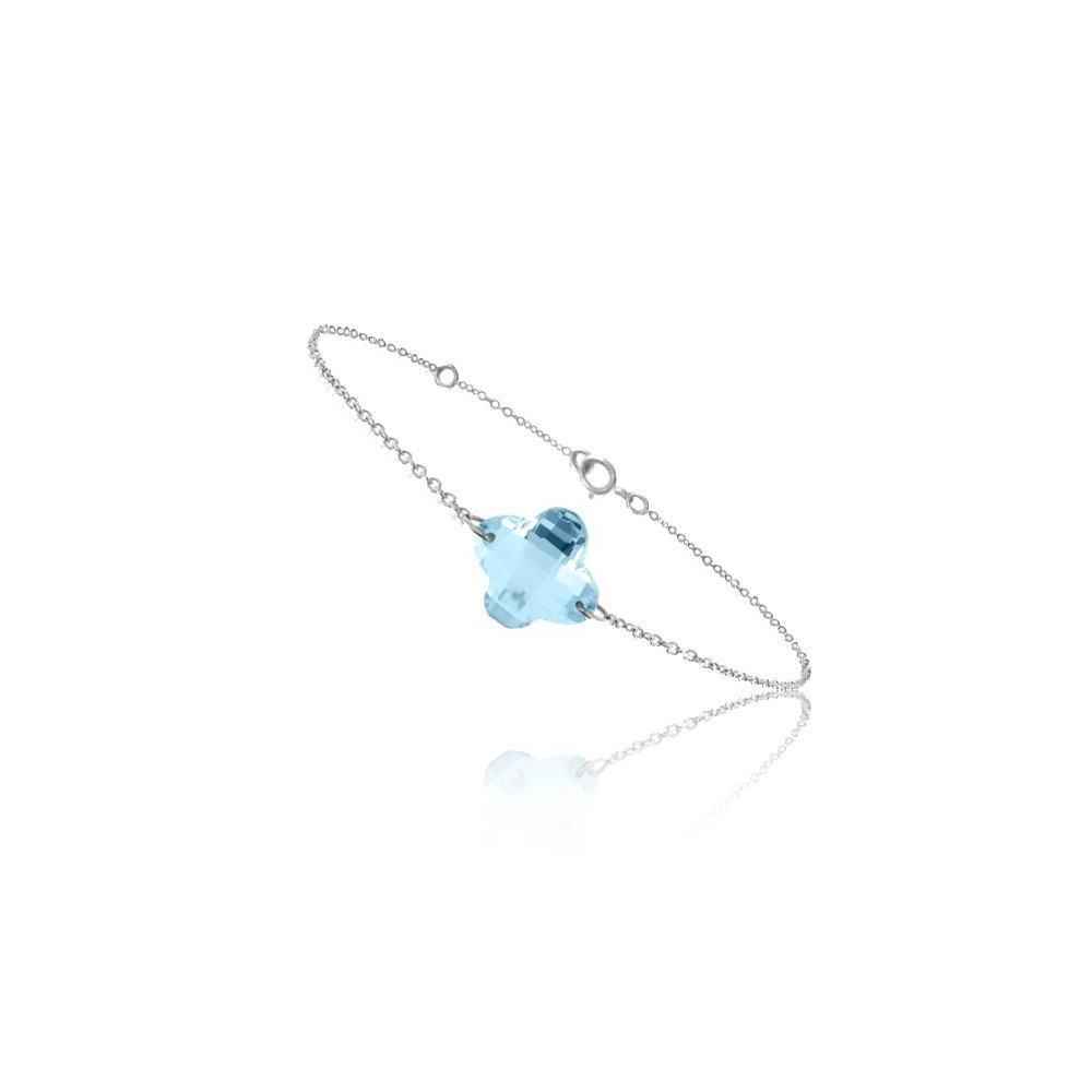 Bracelet chaine Or blanc 750/00 et topaze bleue taille fleur