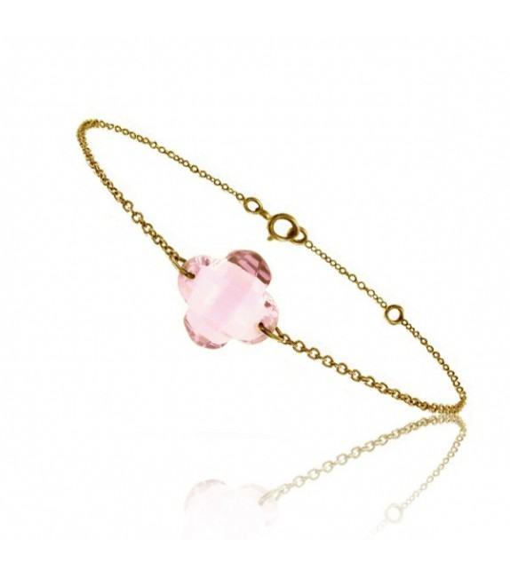 Bracelet chaine Or jaune 750/00 et quartz rose taille fleur