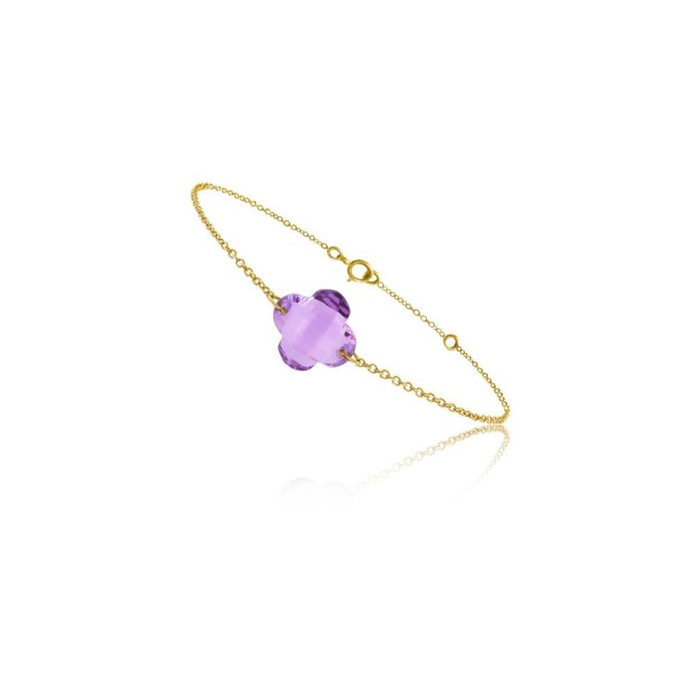 Bracelet chaine Or jaune 750/00 et améthyste taille fleur
