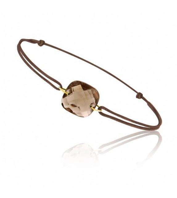 Bracelet cordon Or jaune 750/00 et quartz fumé taille coussin