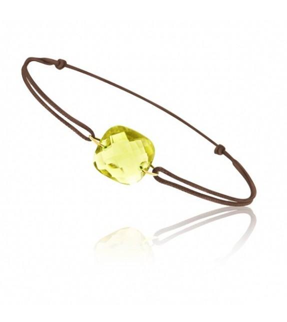 Bracelet cordon Or jaune 750/00 et quartz jaune taille coussin