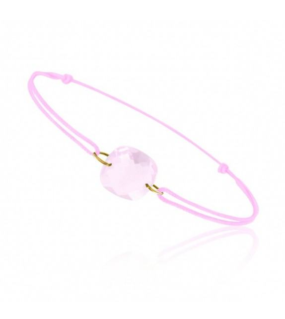 Bracelet cordon Or jaune 750/00 et quartz rose taille coussin
