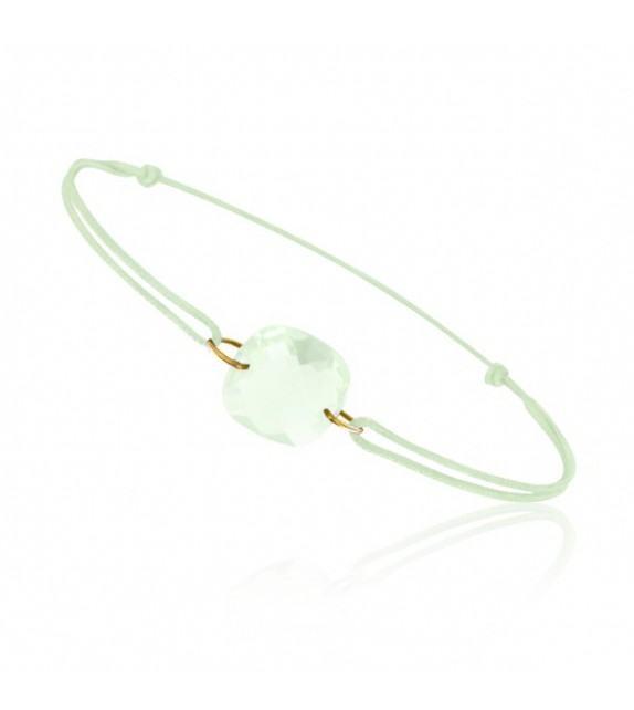 Bracelet cordon Or jaune 750/00 et quartz vert taille coussin