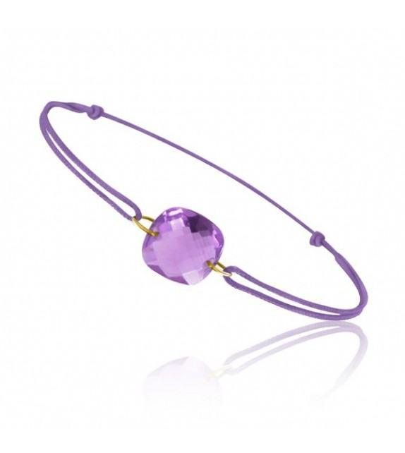 Bracelet cordon Or jaune 750/00 et améthyste taille coussin