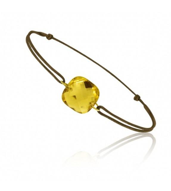 Bracelet cordon Or jaune 750/00 et citrine taille coussin