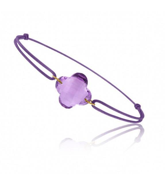 Bracelet cordon Or jaune 750/00 et améthyste taille fleur