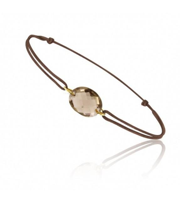 Bracelet cordon Or jaune 750/00 et quartz fumé taille ovale