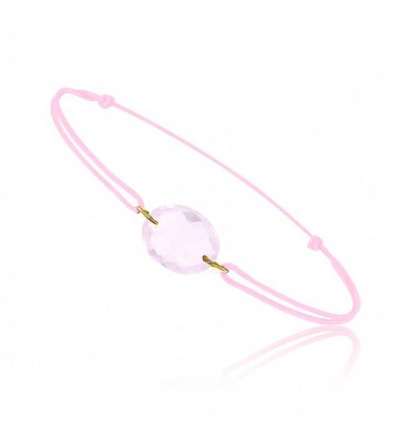 Bracelet cordon Or jaune 750/00 et quartz rose taille ovale