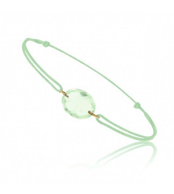 Bracelet cordon Or jaune 750/00 et quartz vert taille ovale