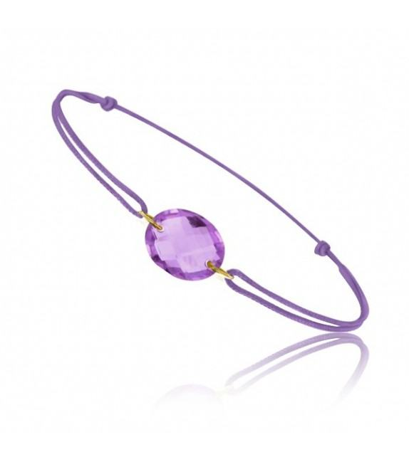 Bracelet cordon Or jaune 750/00 et améthyste taille ovale