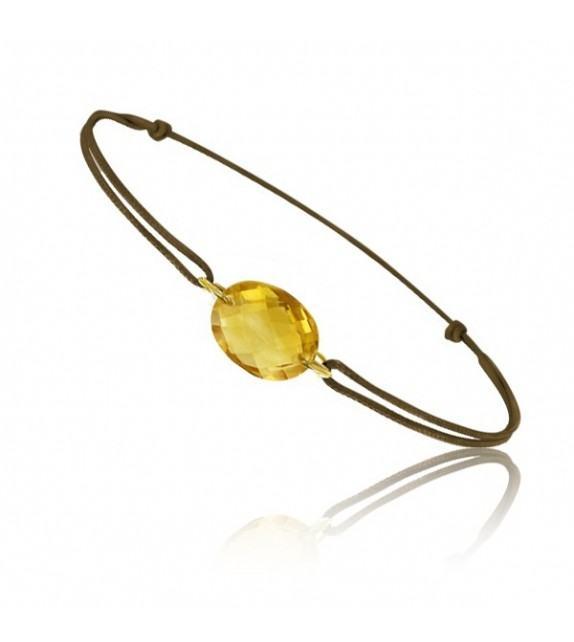 Bracelet cordon Or jaune 750/00 et citrine taille ovale