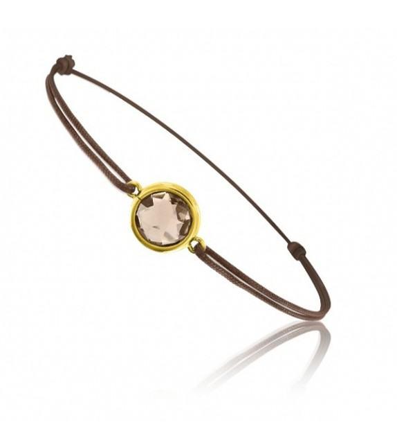 Bracelet cordon Or jaune 750/00 et quartz fumé taille ronde
