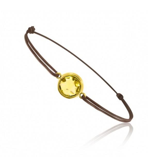 Bracelet cordon Or jaune 750/00 et quartz jaune taille ronde