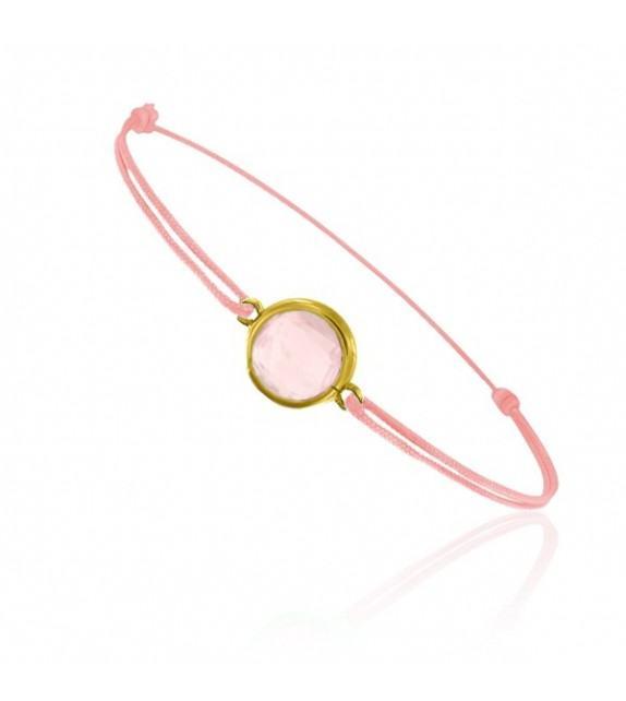 Bracelet cordon Or jaune 750/00 et quartz rose taille ronde