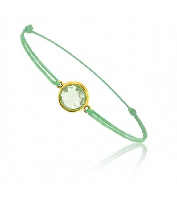 Bracelet cordon Or jaune 750/00 et quartz vert taille ronde