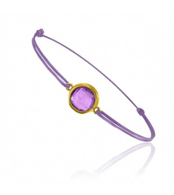 Bracelet cordon Or jaune 750/00 et améthyste taille ronde
