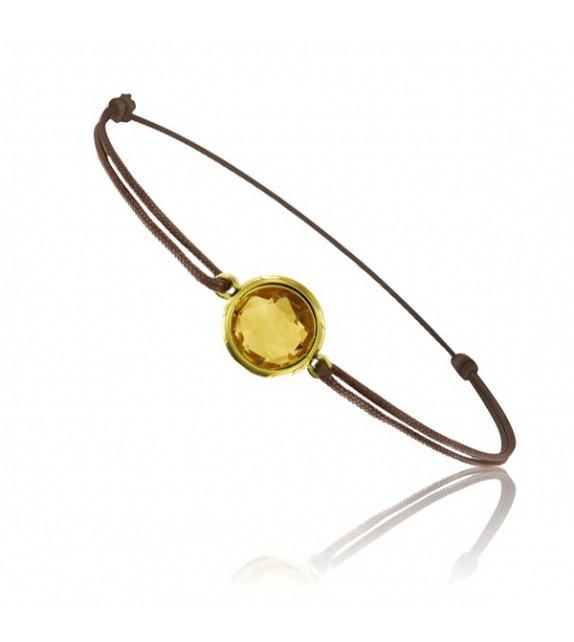 Bracelet cordon Or jaune 750/00 et citrine taille ronde