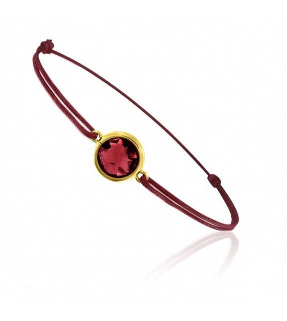 Bracelet cordon Or jaune 750/00 et grenat taille ronde