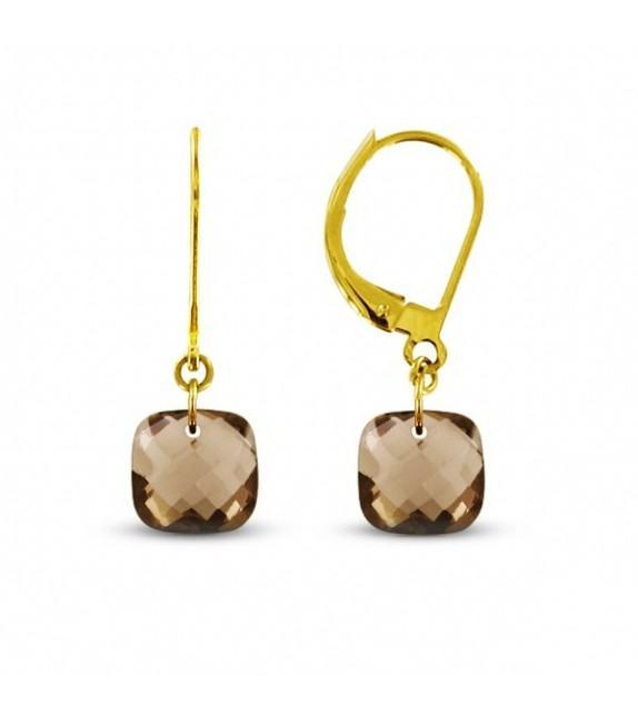 Boucles d'oreilles dormeuses Or jaune 750/00 et quartz fumés taille coussin