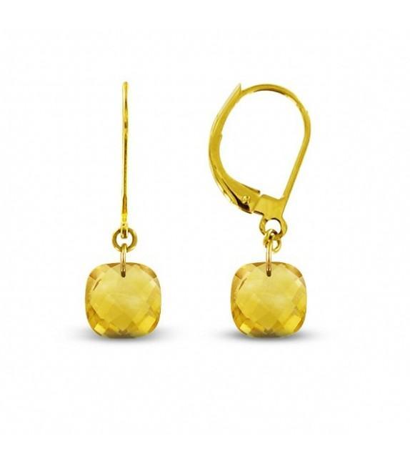 Boucles d'oreilles dormeuses Or jaune 750/00 et citrines taille coussin
