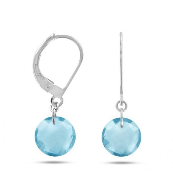 Boucles d'oreilles dormeuses Or blanc 750/00 et topazes bleues taille ronde