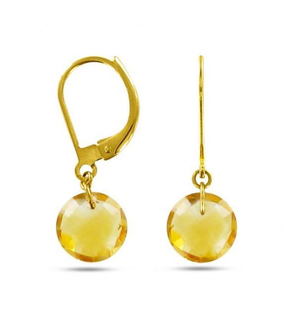 Boucles d'oreilles dormeuses Or jaune 750/00 et citrines taille ronde