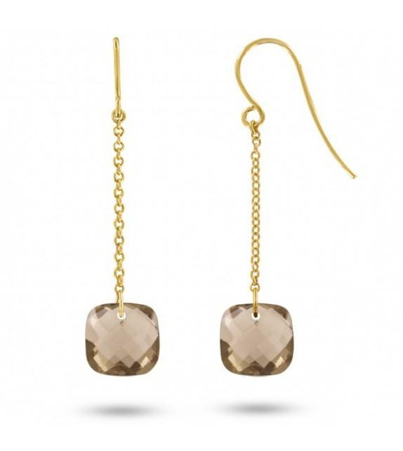 Boucles d'oreilles pendantes Or jaune 750/00 et quartz fumés taille coussin